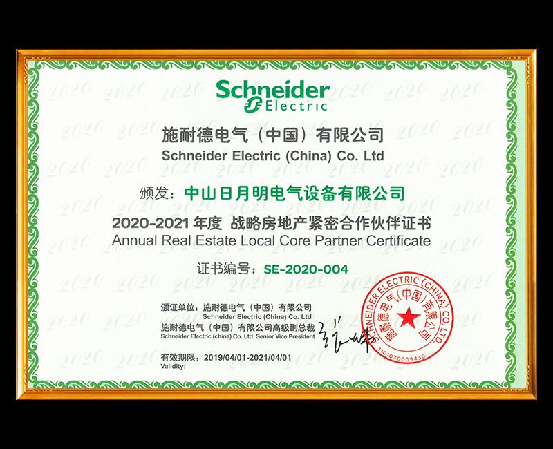 2020-2021战略房地产紧密合作伙伴证书